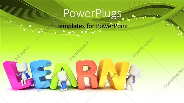 powerpoint template: kids posing with the word learn (18854), Presentation templates