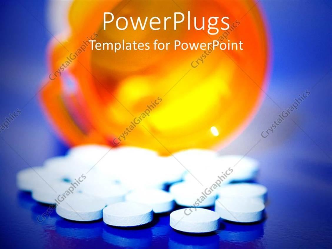 powerpoint template knocked over prescription pill drugs spilled over blue background 28422. Black Bedroom Furniture Sets. Home Design Ideas