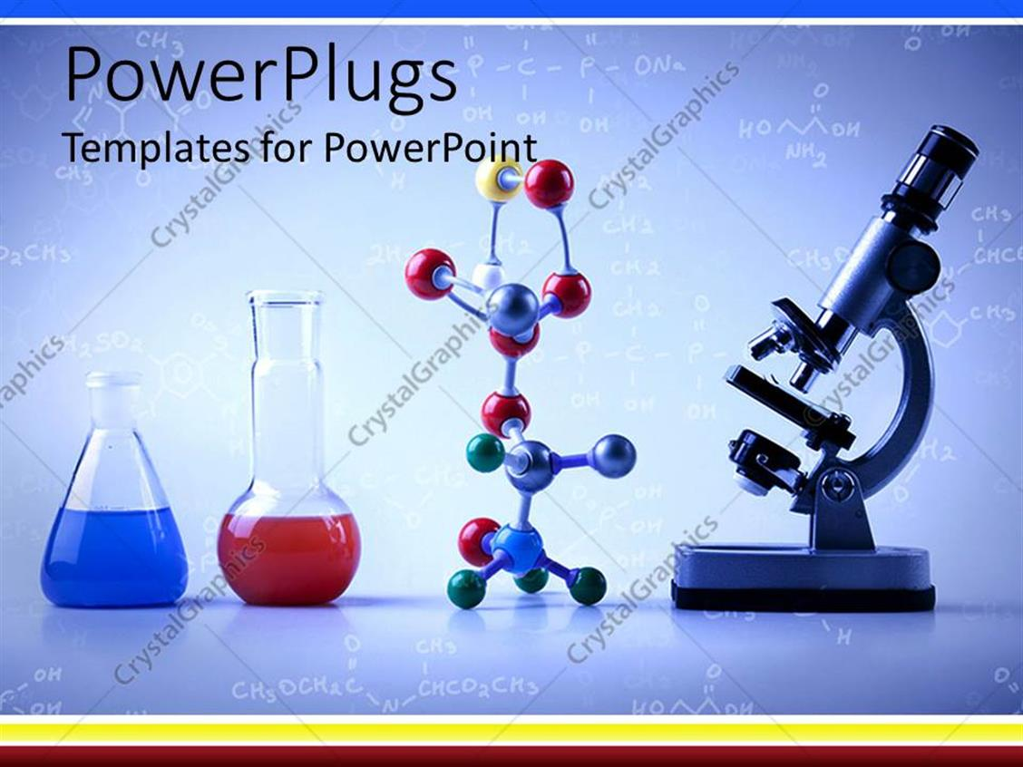 powerpoint template lab equipment with vials with blue and ...