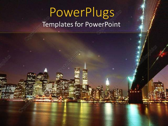 powerpoint template  landscape view of new york city