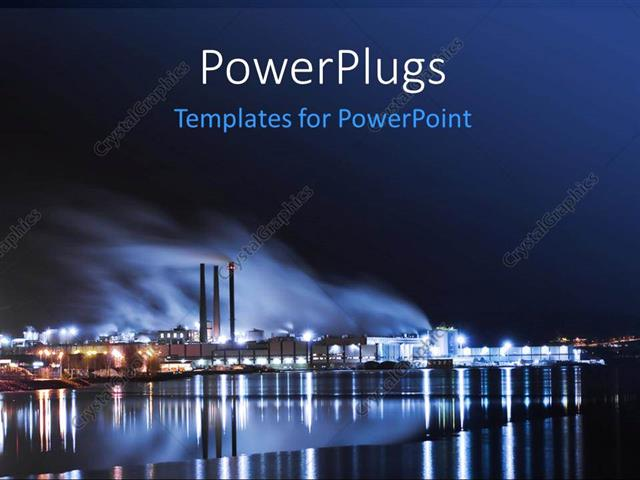 powerpoint template: large industrythe water and lights (17300), Modern powerpoint