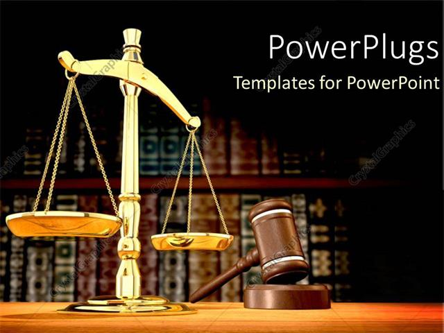 PowerPoint Template Displaying Legal Systems with a Gold Scale for Justice and Law as a Metaphor on a Brown Background