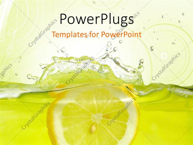 powerpoint template: lemon slice falling into juice with yellow, Modern powerpoint