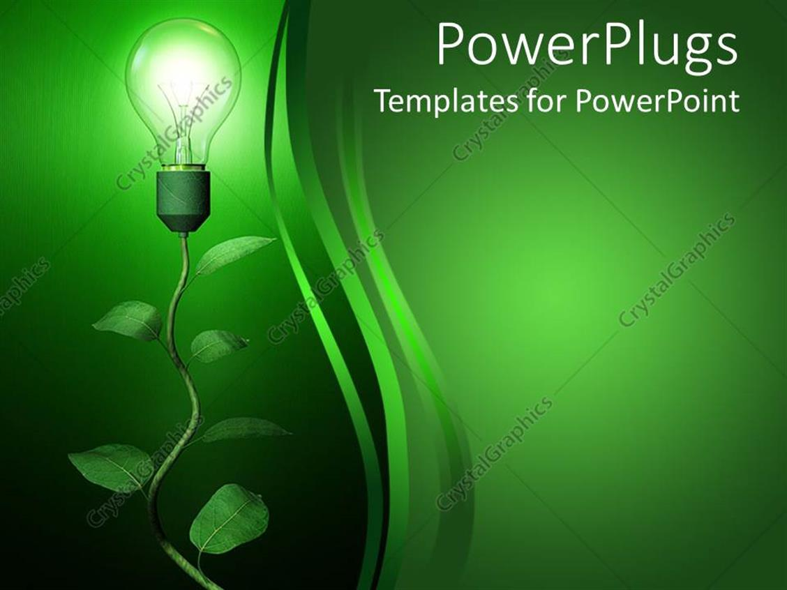 Powerpoint Template Light Blub Growing On Branch Green Seed Germination Growth Slidemodel Background Renewable Energy 14930