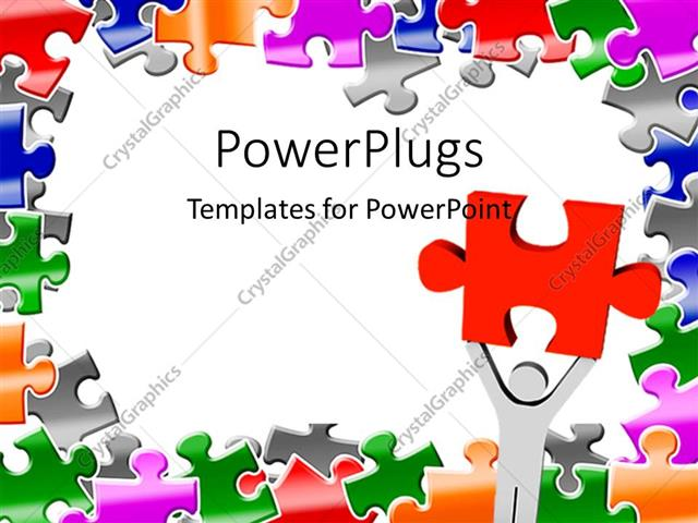 Powerpoint Template: Light Gray Figure Holding Large Red Puzzle