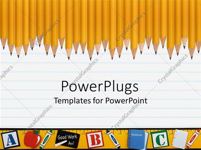 PowerPoint Template Line of sharp yellow pencils on a loose leaf – Loose Leaf Template