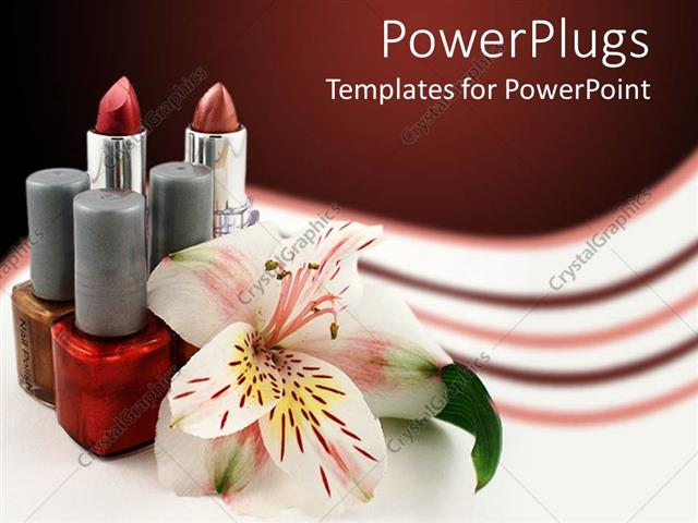 PowerPoint Template Displaying Lipstick with Bottles of Nail Polish and Lily on Cool Background