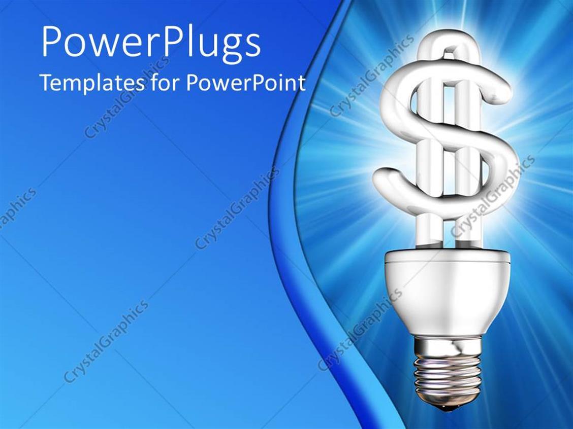 powerpoint template lit dollar sign light bulb blue