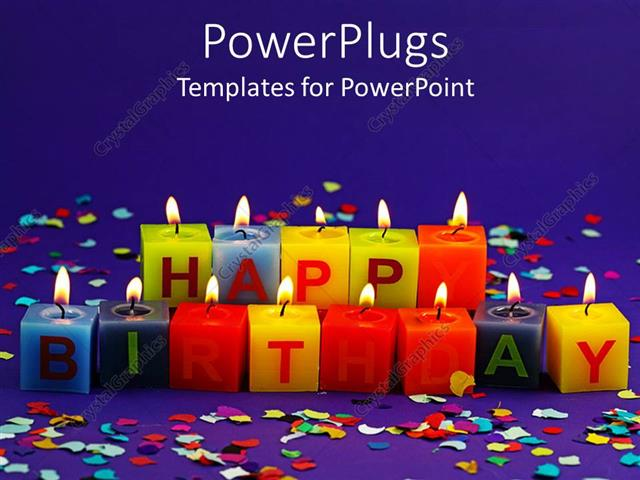 powerpoint template lit happy birthday candles and rainbow confetti on purple background 15647. Black Bedroom Furniture Sets. Home Design Ideas
