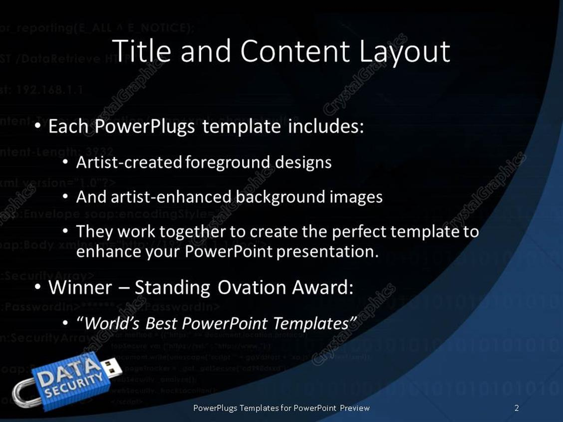 powerpoint template: locked usb device depicting the security of, Powerpoint templates