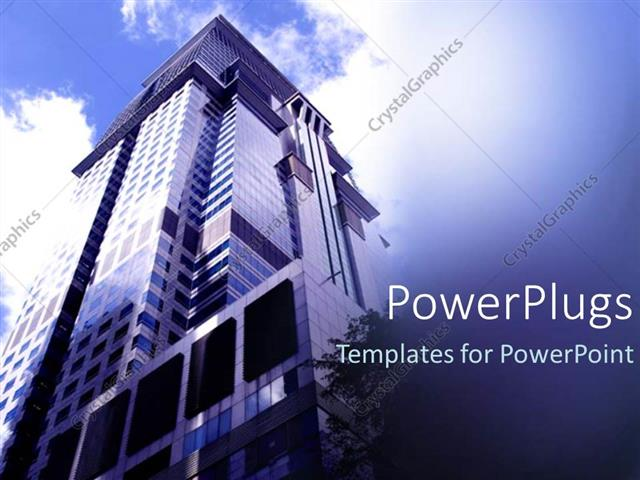 powerpoint template: lose up view of a tall building showing the, Modern powerpoint