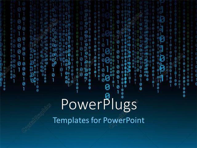 powerpoint template: a lot of binary number threads with bluish, Modern powerpoint