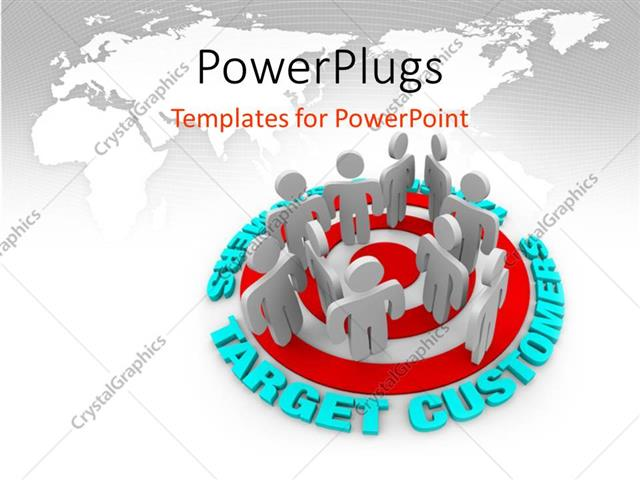 PowerPoint Template Displaying Lots of 3D Human Characters Standing on a Target
