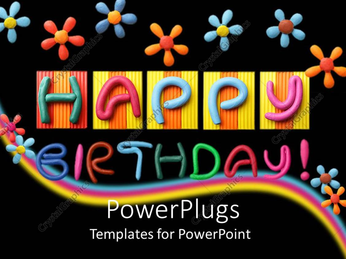 Completely Satisfied Birthday Wallpapers: PowerPoint Template: Lots Of Colorful Flowers And Text