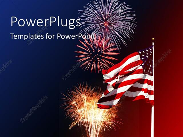 powerpoint template: lots f fireworks and an american flag on a, Presentation templates