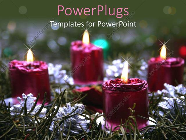 PowerPoint Template Displaying Lots of Lit Purple Colored Candles on a Grass Field