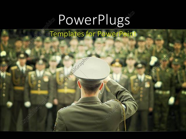 Powerpoint template lots of military officials in on a blurry powerpoint template displaying lots of military officials in on a blurry background with a leader saluting toneelgroepblik Image collections