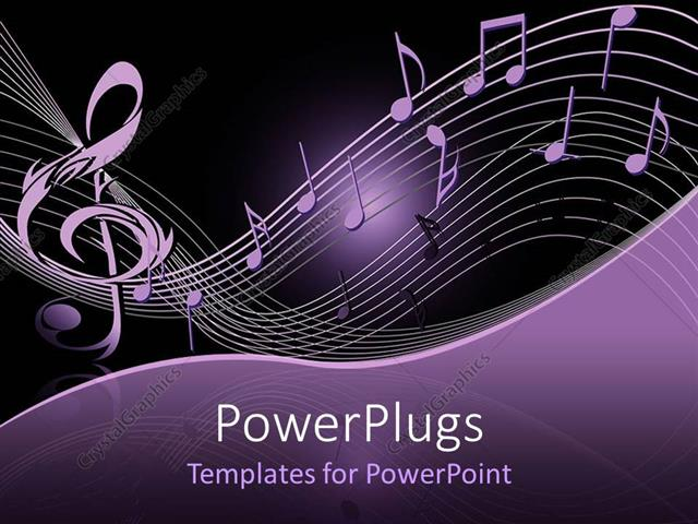 PowerPoint Template: lots of musical notes on a purple and ...