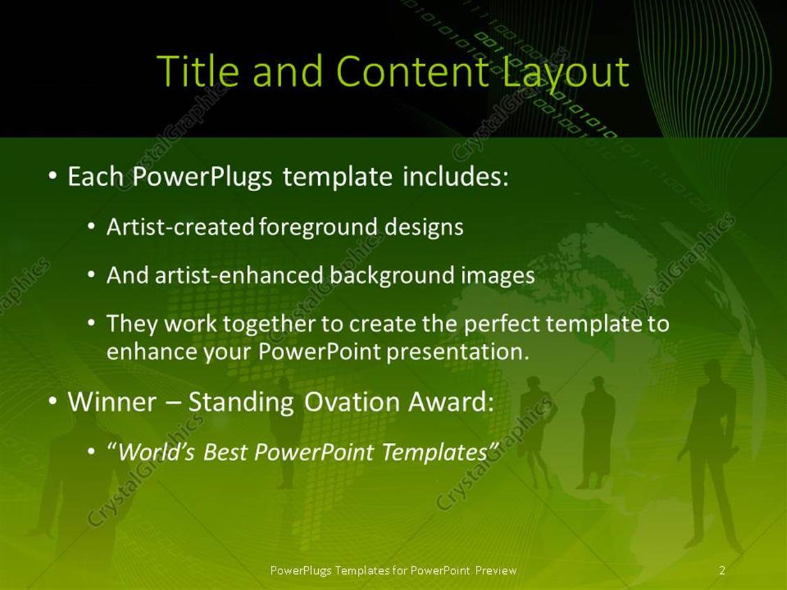powerpoint template: lots of people standing on a green world map, Presentation templates