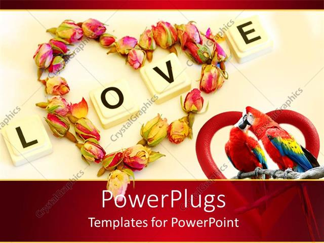 Powerpoint template love theme with word love and heart made of powerpoint template displaying love theme with word love and heart made of rose buds two kissing toneelgroepblik Image collections