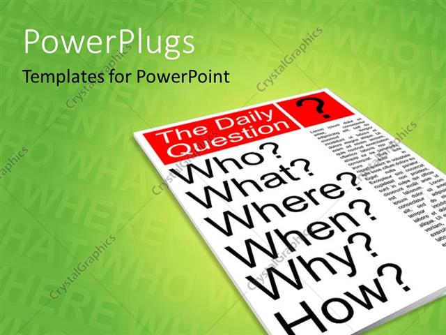 powerpoint template: a magazine with a question on the cover page, Powerpoint templates