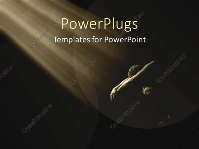 powerpoint template: man bent over in shadow with light shining on, Modern powerpoint
