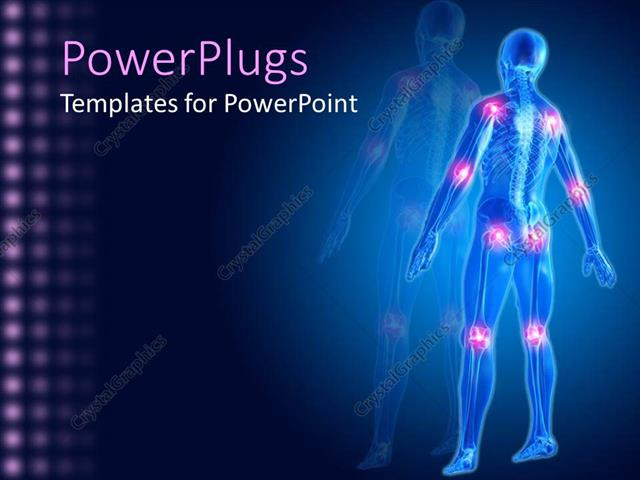powerpoint template: a man skeleton showing different joints in, Skeleton