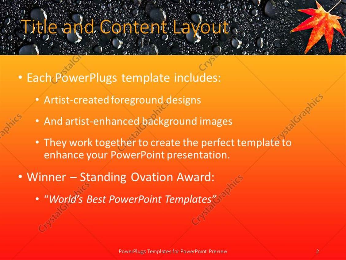 powerpoint template: maple leaf on rain drops orange and yellow, Powerpoint templates