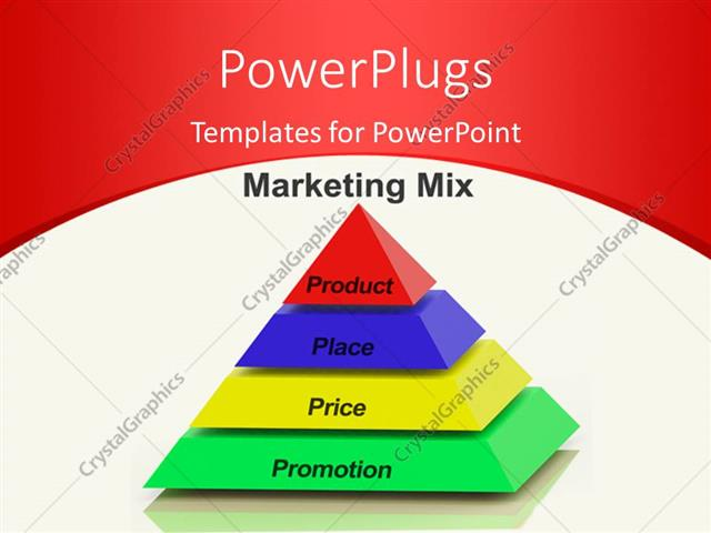 powerpoint template: marketing mix pyramid with keywords such as, Powerpoint templates