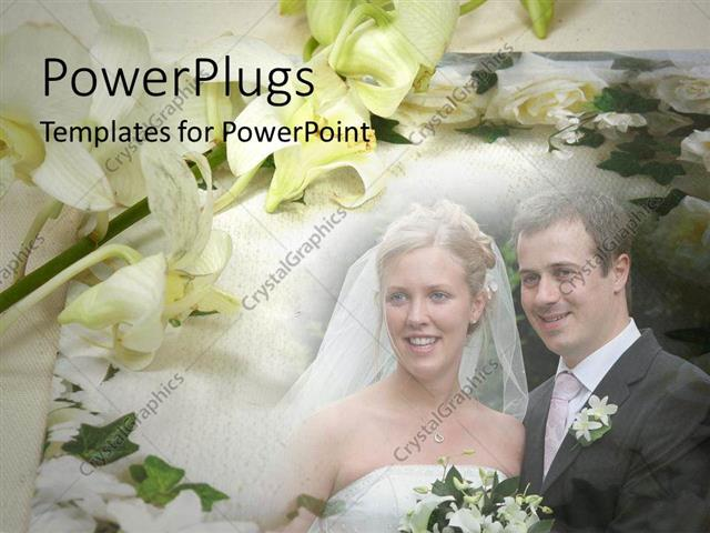 Powerpoint Template: Married Couple At Wedding, Bride And Groom