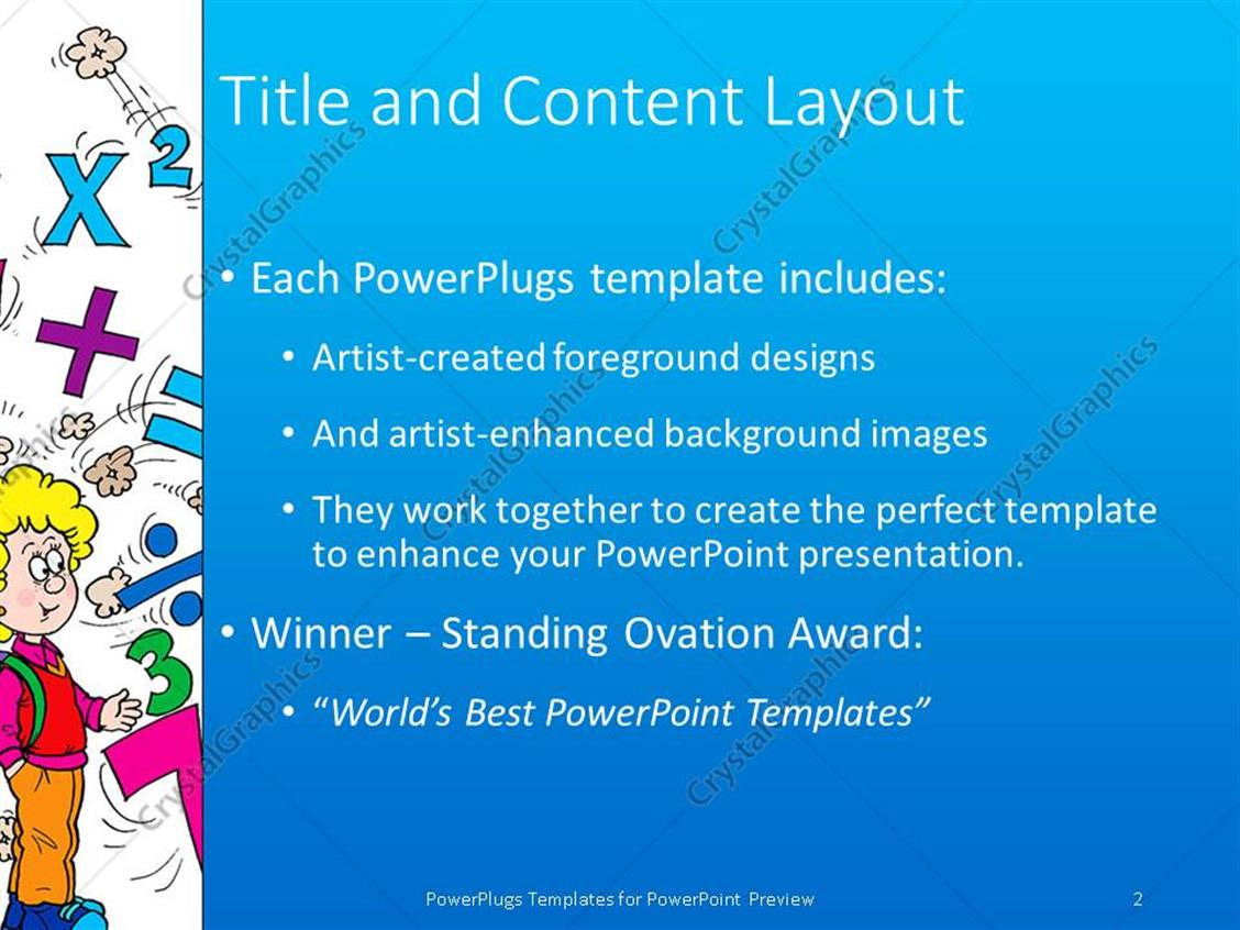 powerpoint template: math related symbols and the word mathematics, Modern powerpoint