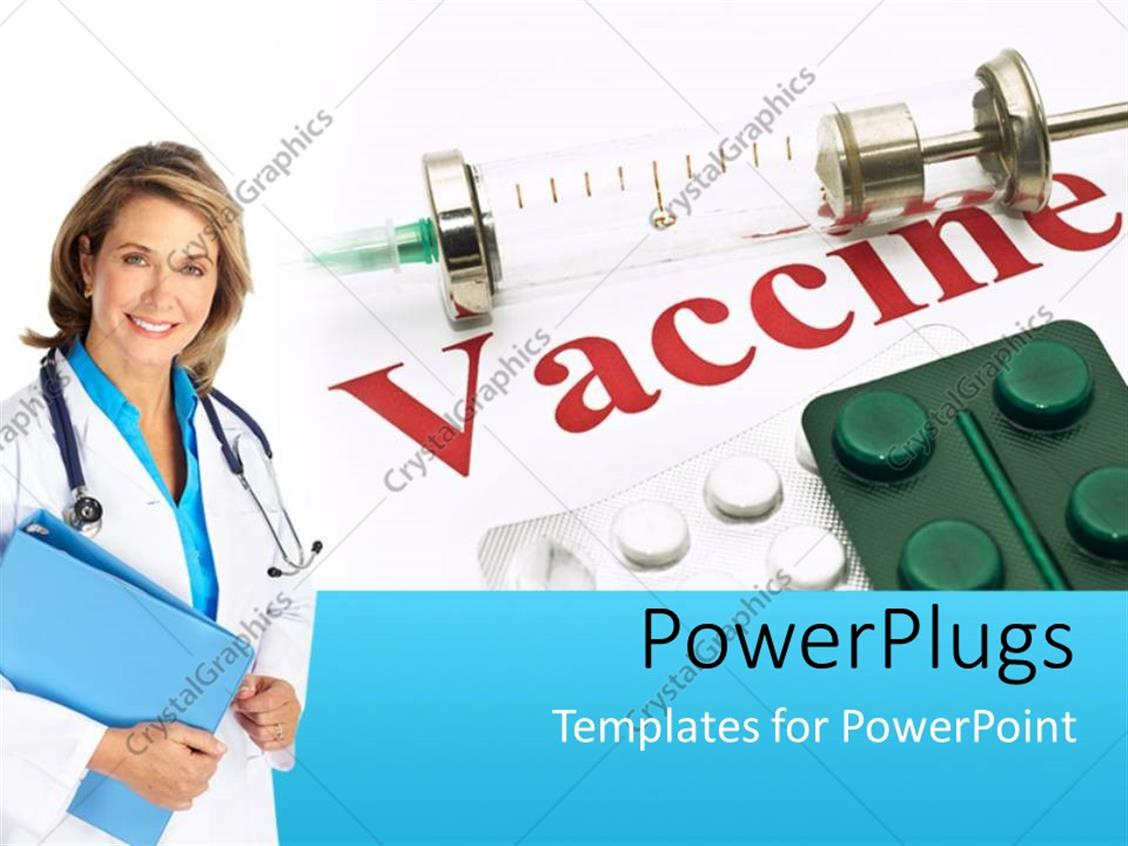 powerpoint template medical doctor with notes and stethoscope poses beside drugs and vaccine. Black Bedroom Furniture Sets. Home Design Ideas