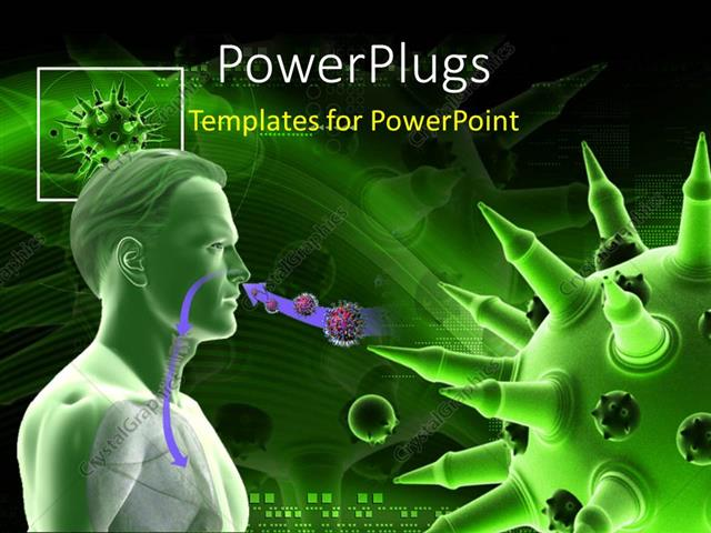 Powerpoint template medical theme depicting humanoid having flu powerpoint template displaying medical theme depicting humanoid having flu virus with green color toneelgroepblik Gallery