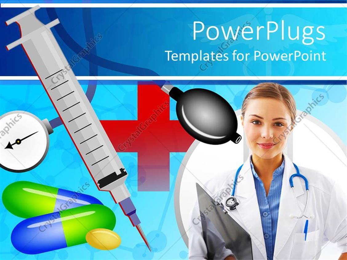 powerpoint template medical theme with doctor nurse with stethoscope and patients record. Black Bedroom Furniture Sets. Home Design Ideas