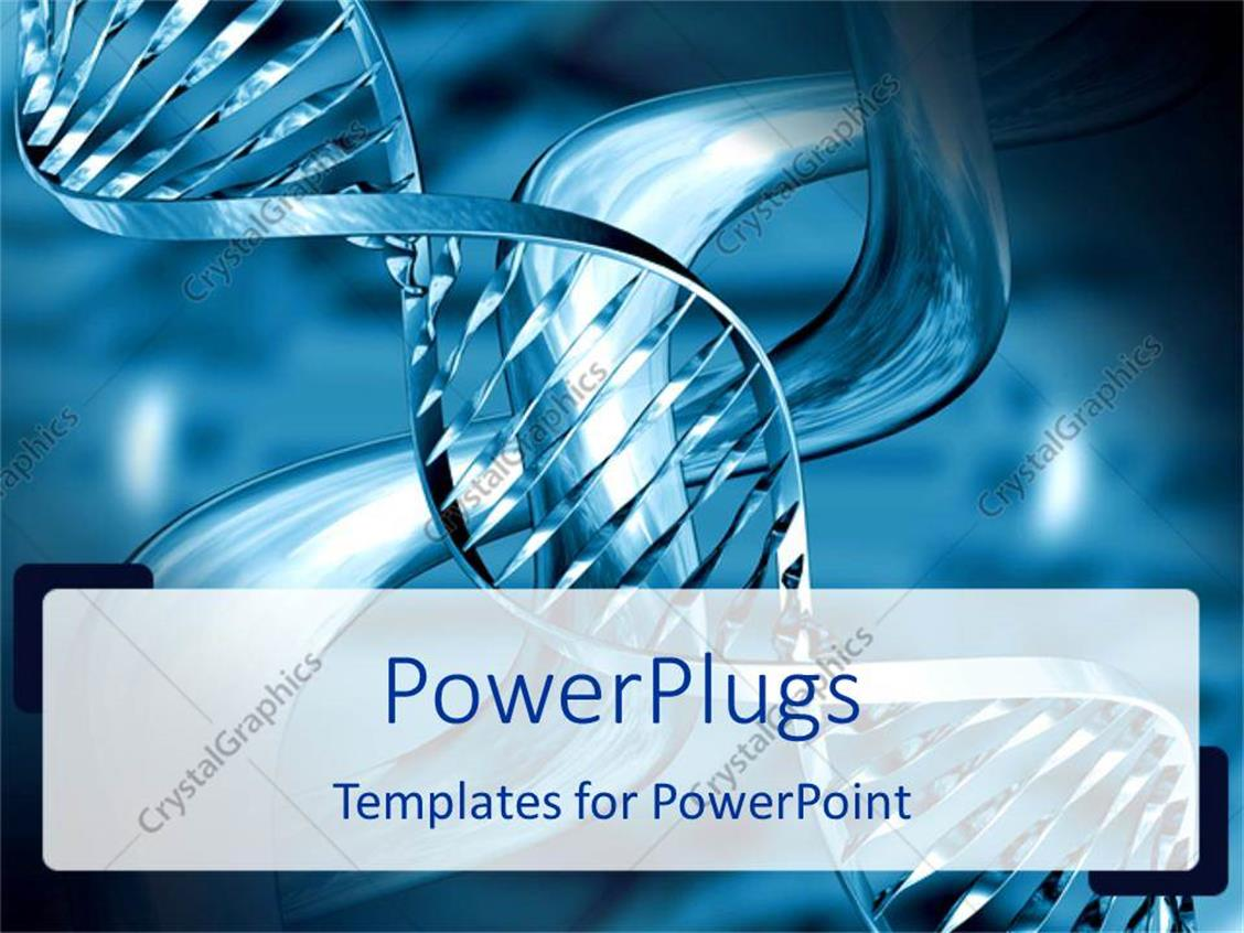 PowerPoint Template Displaying Medical Theme Representing Silvery Blue DNA Strands on Abstract Background