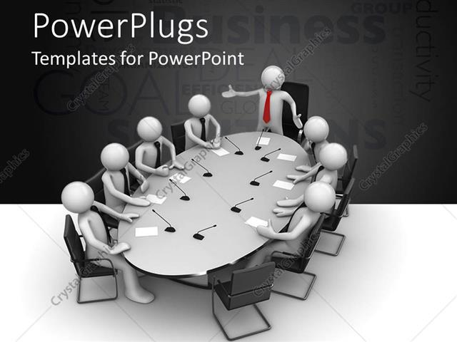 powerpoint template a meeting going on with the head of the meeting standing up 20318. Black Bedroom Furniture Sets. Home Design Ideas