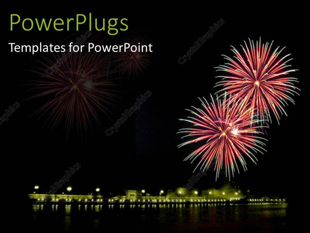 powerpoint template: mid night view of lighted up fireworks in the, Presentation templates