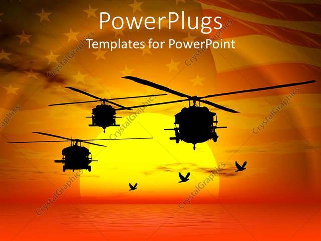 powerpoint template military helicopters flying over sea sunset sky and american flag i. Black Bedroom Furniture Sets. Home Design Ideas