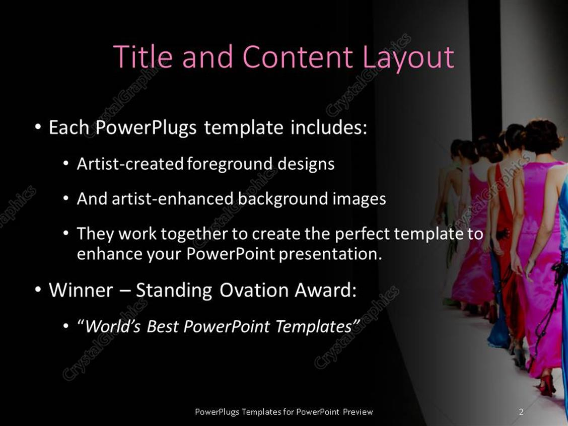 Powerpoint template models on the catwalk during a fashion show powerpoint products templates secure standing ovation award toneelgroepblik Image collections