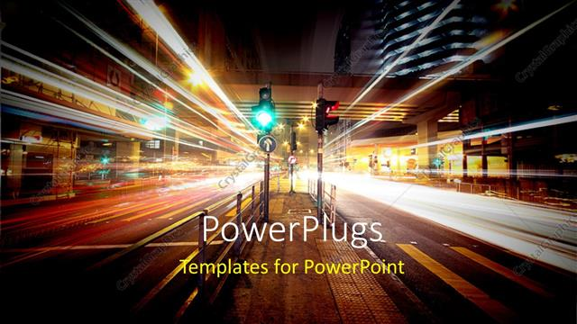powerpoint template: night view of urban city with traffic lights, Modern powerpoint