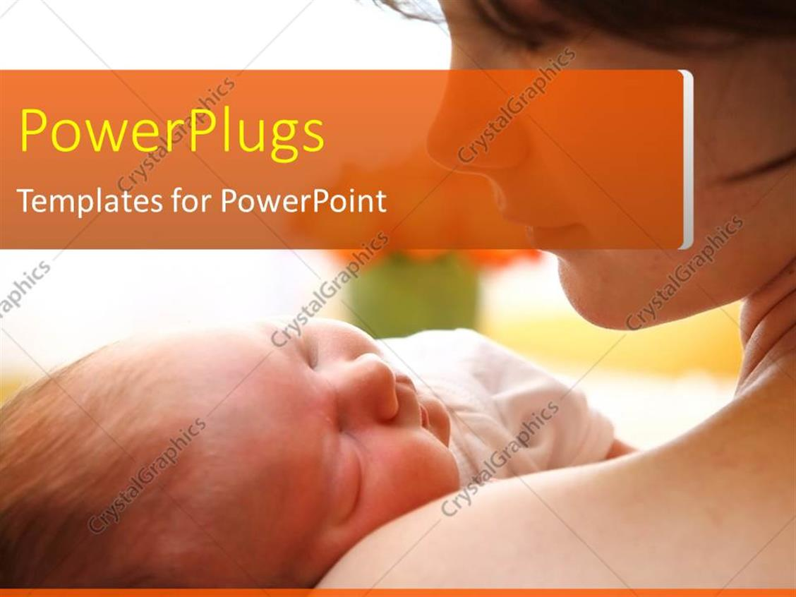 PowerPoint Template Displaying Mother Carrying Beautiful Baby in Hand on Cool Background