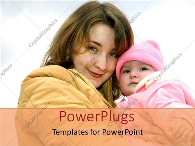 PowerPoint Template Displaying Mother and Child Baby Daughter in Winter Coats Smiling