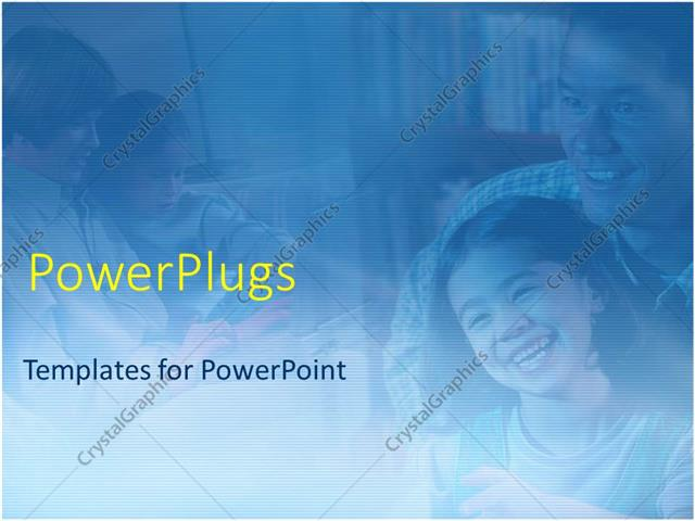 PowerPoint Template Displaying Mother and Father with Boy and Girl Children