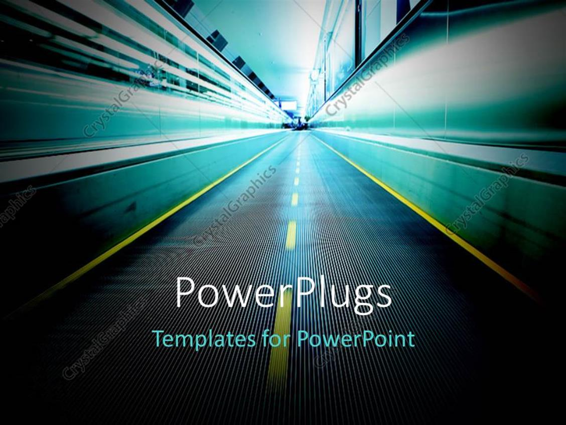 powerpoint template: moving escalator in airport with motion blur, Modern powerpoint