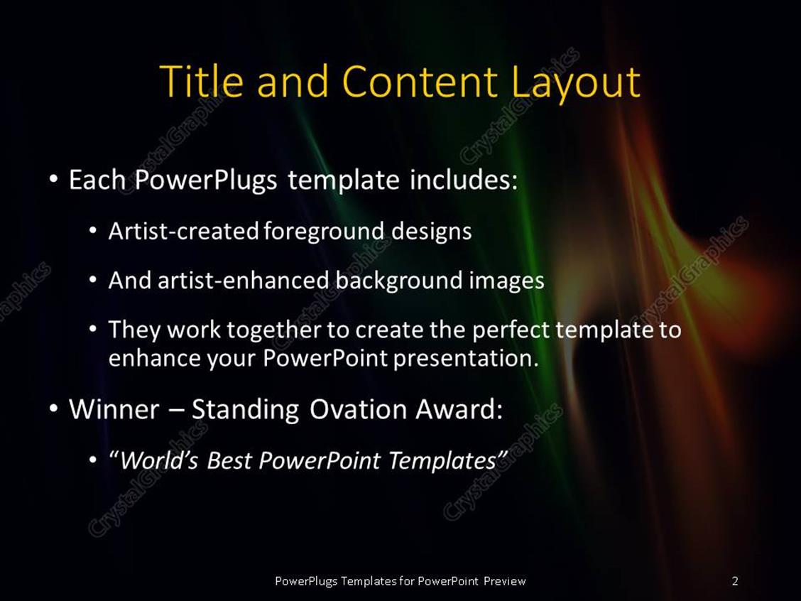 powerpoint template: multi color elegant flames with black color (901), Modern powerpoint