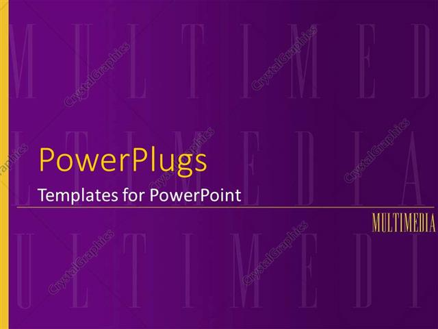 powerpoint template: multimedia purple background with yellow word, Modern powerpoint
