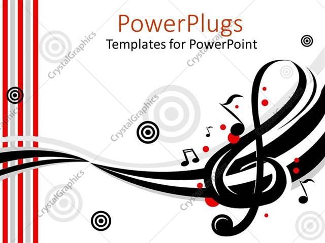 PowerPoint Template Displaying Music Instruments Treble Clef Target Song White Background Musician