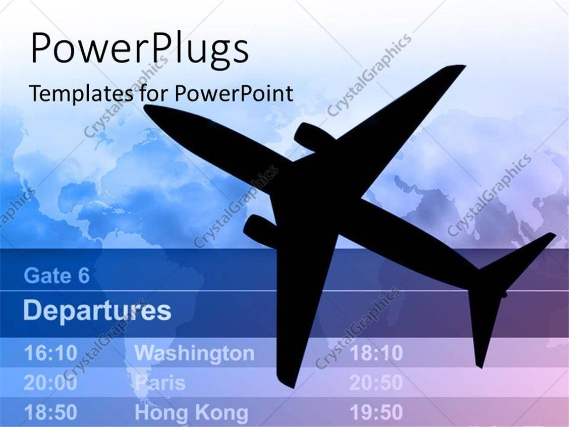 powerpoint template: n airplane with light schedule and map in the, Modern powerpoint