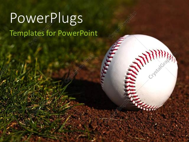 Powerpoint template new baseball on red dirt next to green grass powerpoint template displaying new baseball on red dirt next to green grass toneelgroepblik Image collections