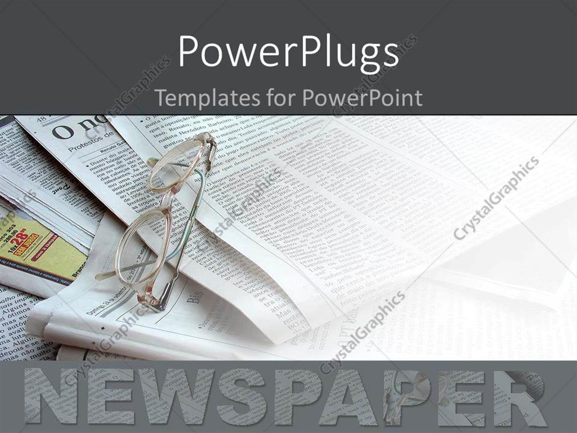 PowerPoint Template: newspapers in the background white ...